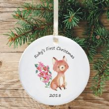 Ceramic Keepsake Baby's 1st Christmas Tree Decoration - Fox Design